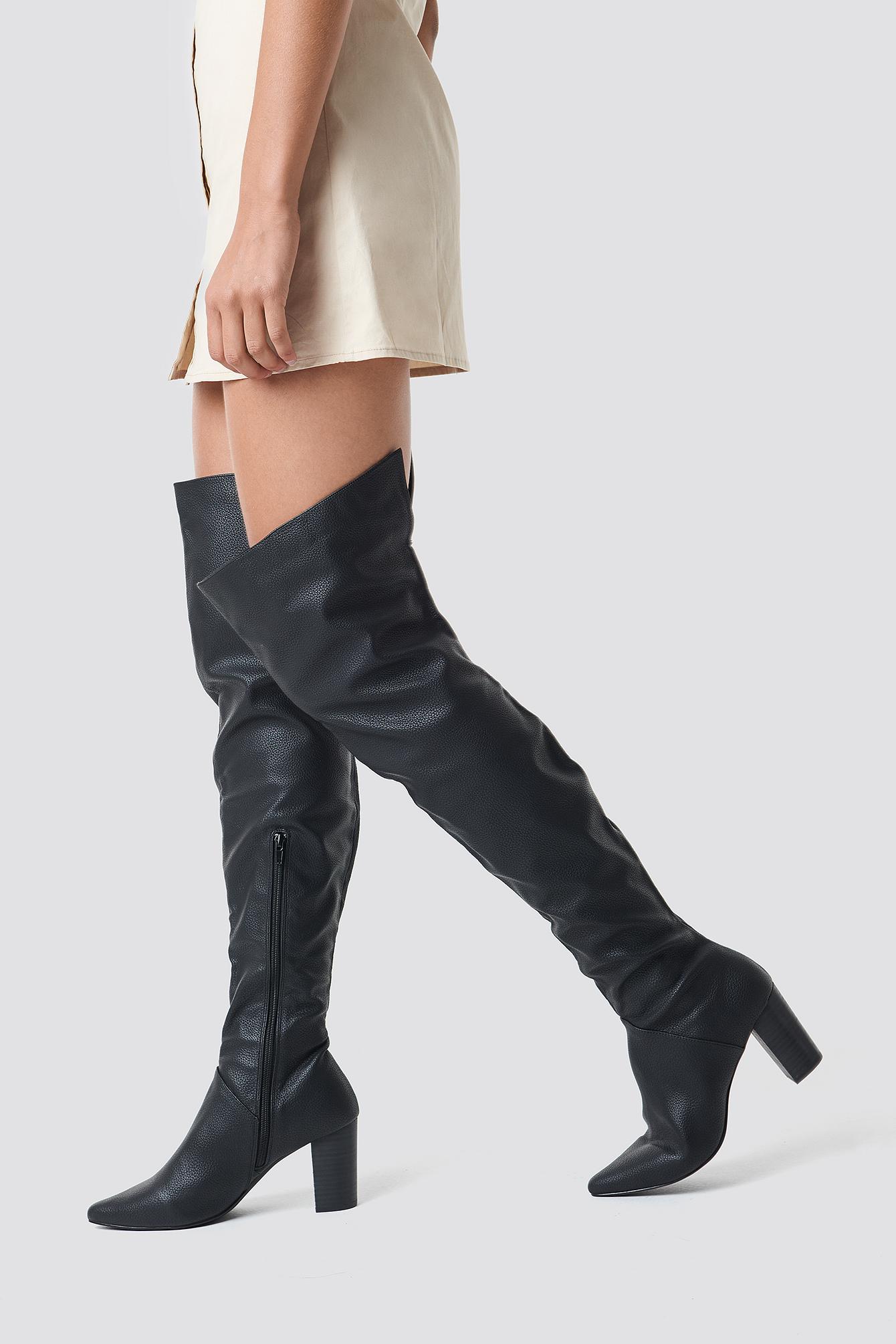 na-kd shoes -  Classic Overknee Boots - Black