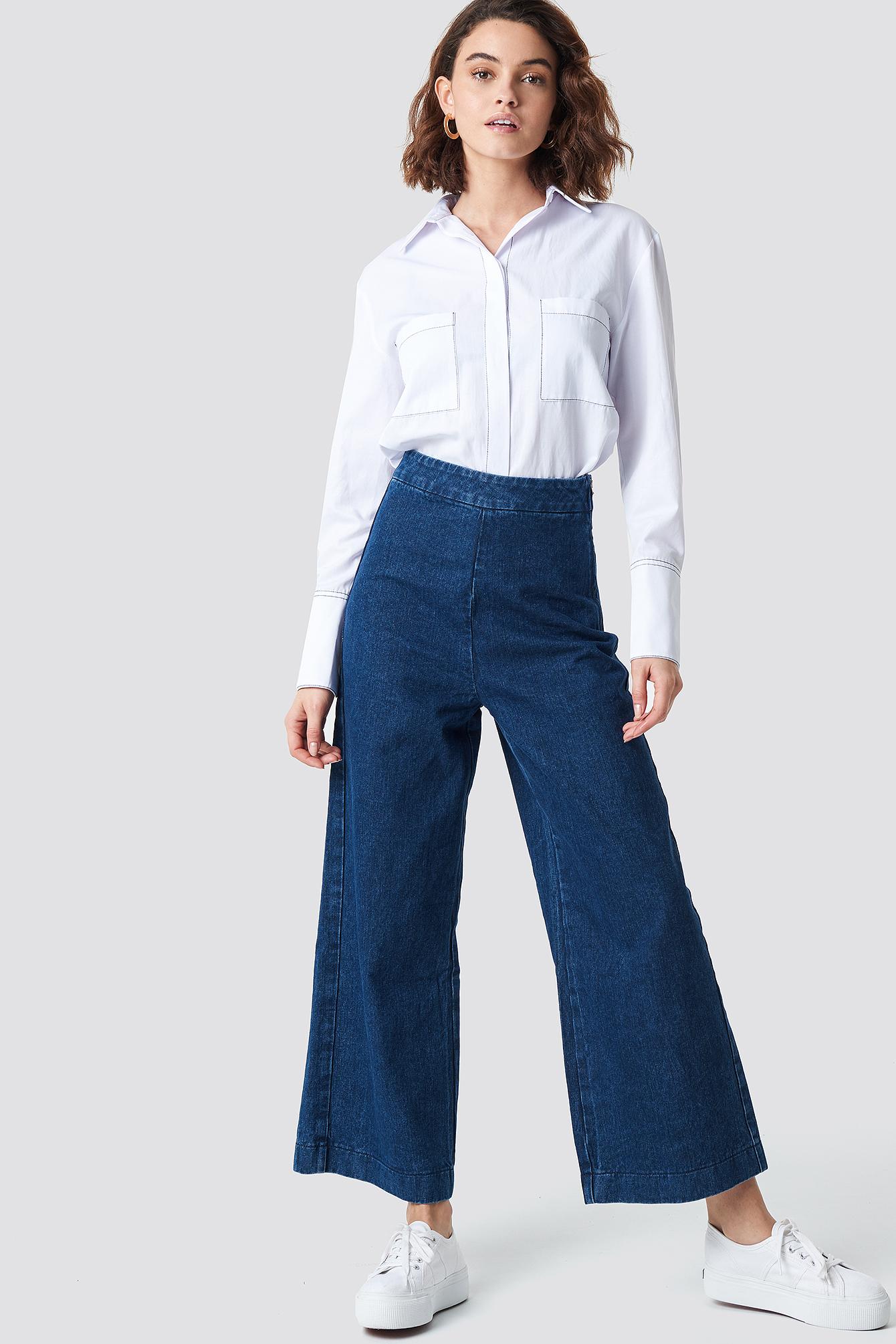 na-kd -  Classy Culotte Denim Pants - Blue