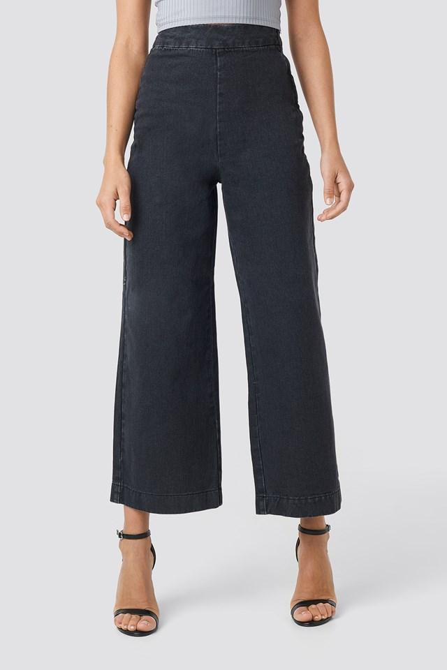 Classy Culotte Denim Pants Grey