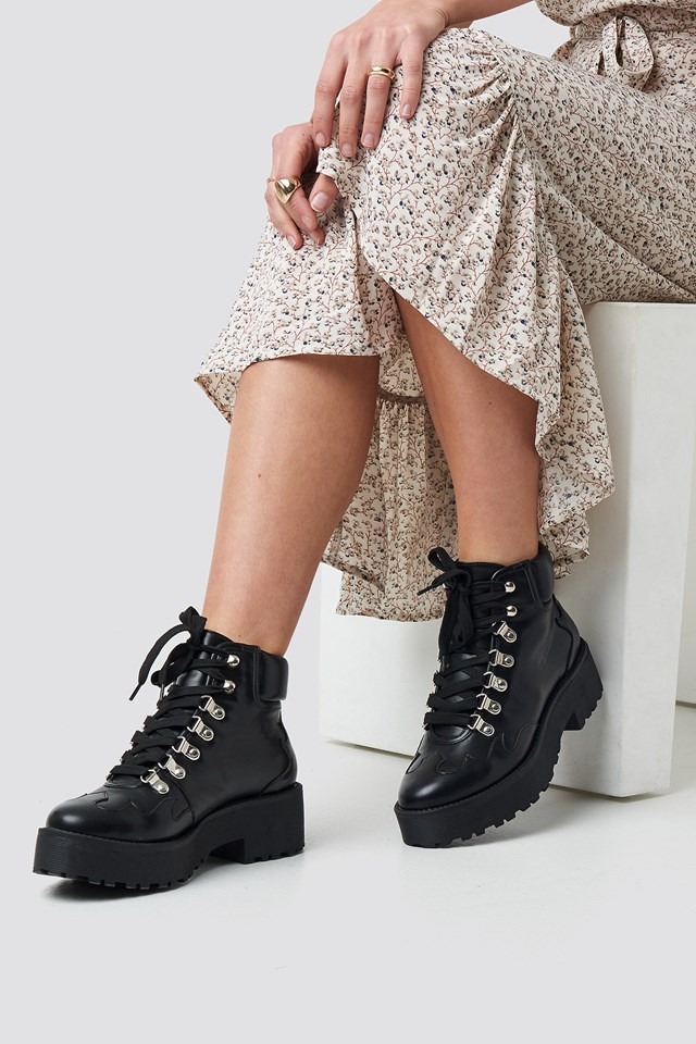 Cleated Western Detail Laceup Ankle Boot Black