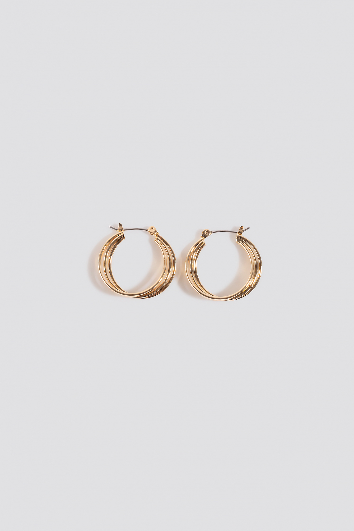 NA-KD Accessories Close Layered Hoop Earrings - Gold