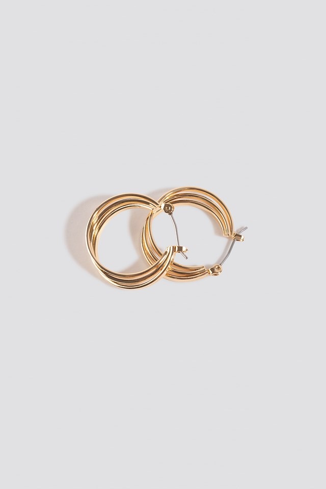 Close Layered Hoop Earrings Gold