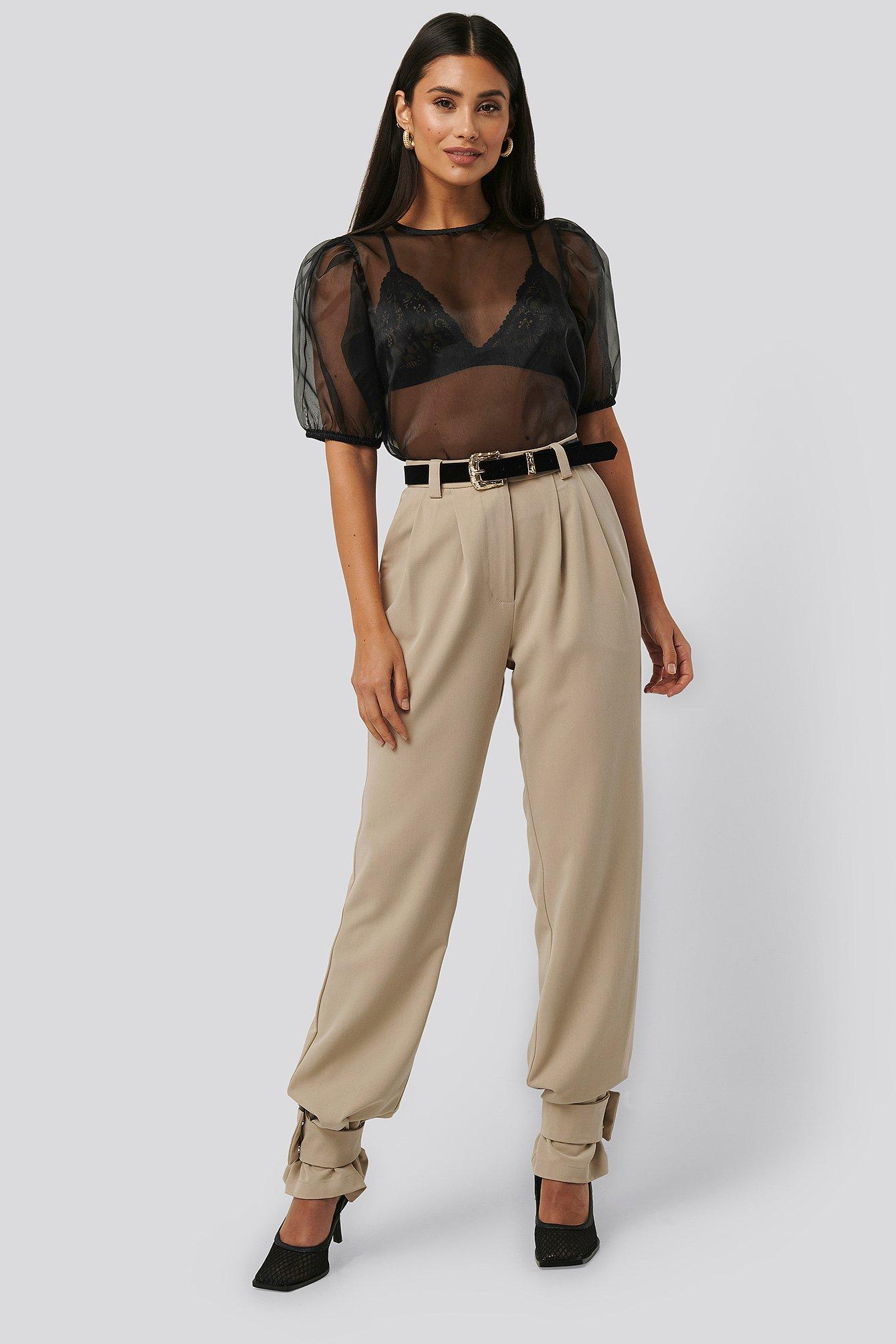 NA-KD Trend Closure Suit Pants - Beige
