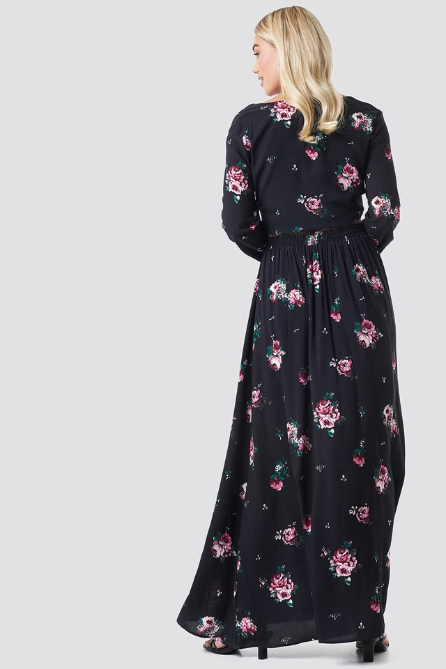 Co-ord Floral Maxi Skirt Black Floral