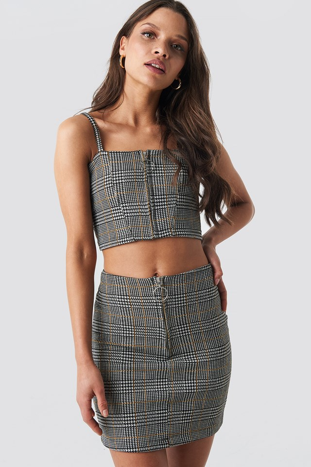 Co-ord Check Mini Skirt Black/White/Yellow