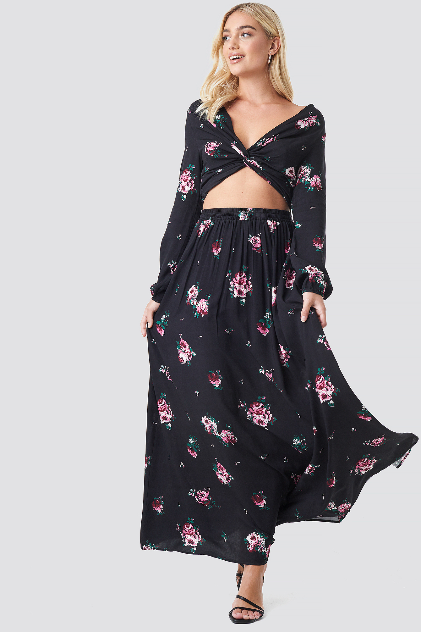 Co-ord Floral Twist Cropped Top NA-KD.COM