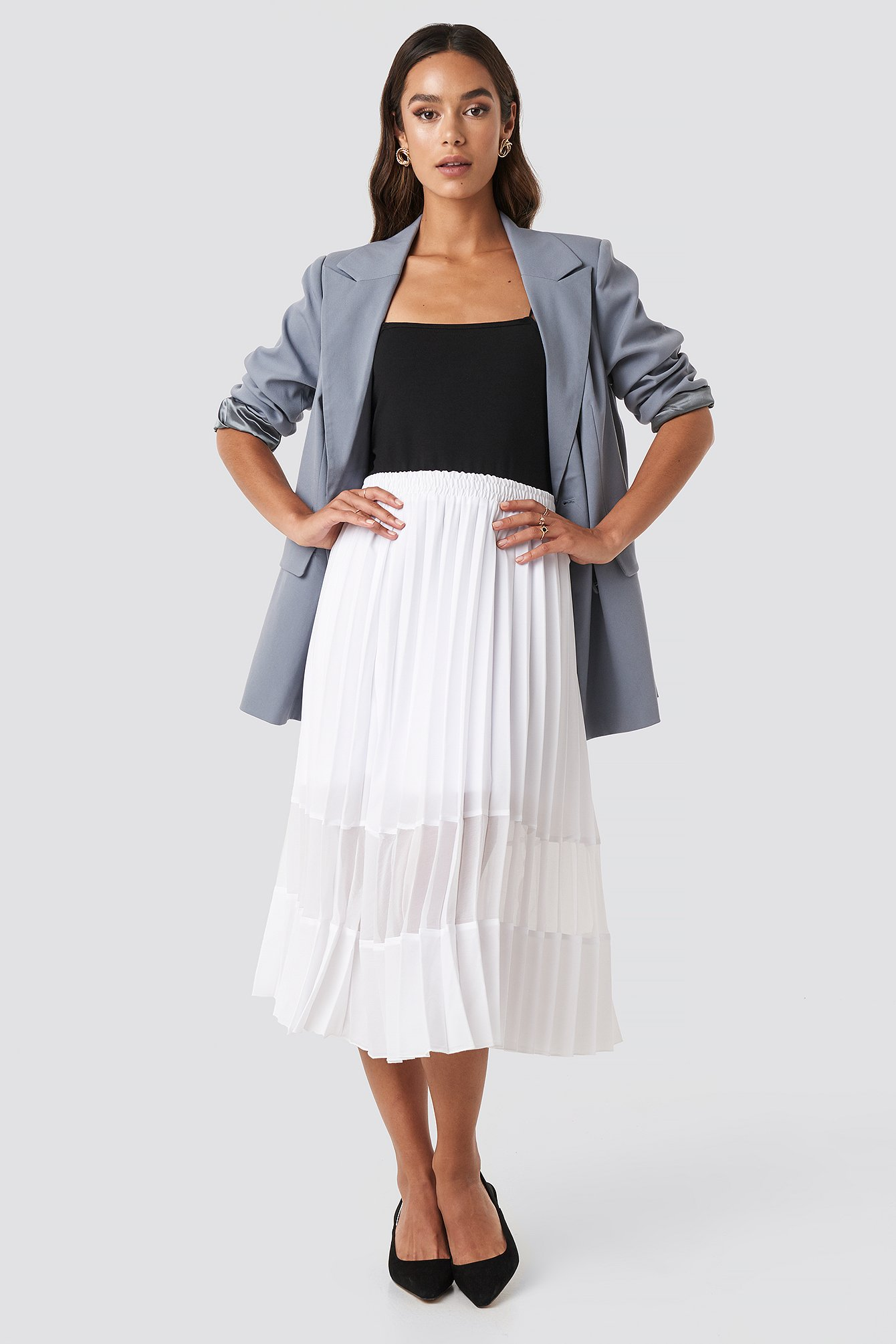 NA-KD Trend Co-ord Pleated Panel Midi Skirt - White