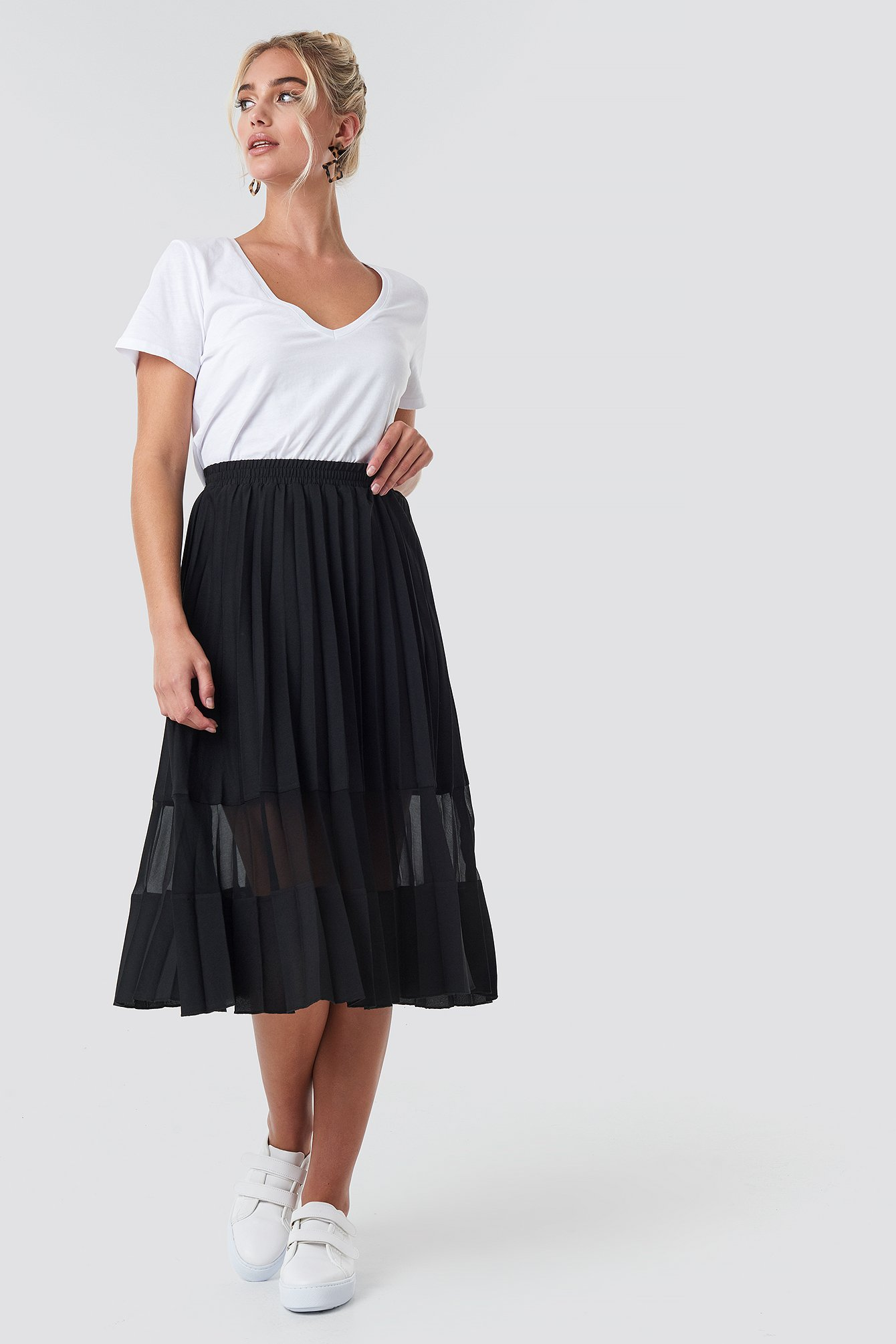Black Co-ord Pleated Panel Midi Skirt