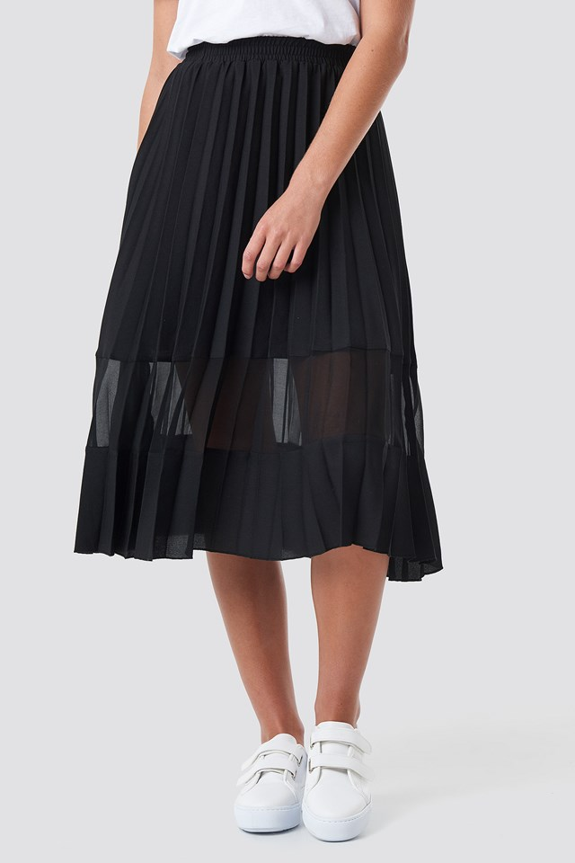 Co-ord Pleated Panel Midi Skirt Black