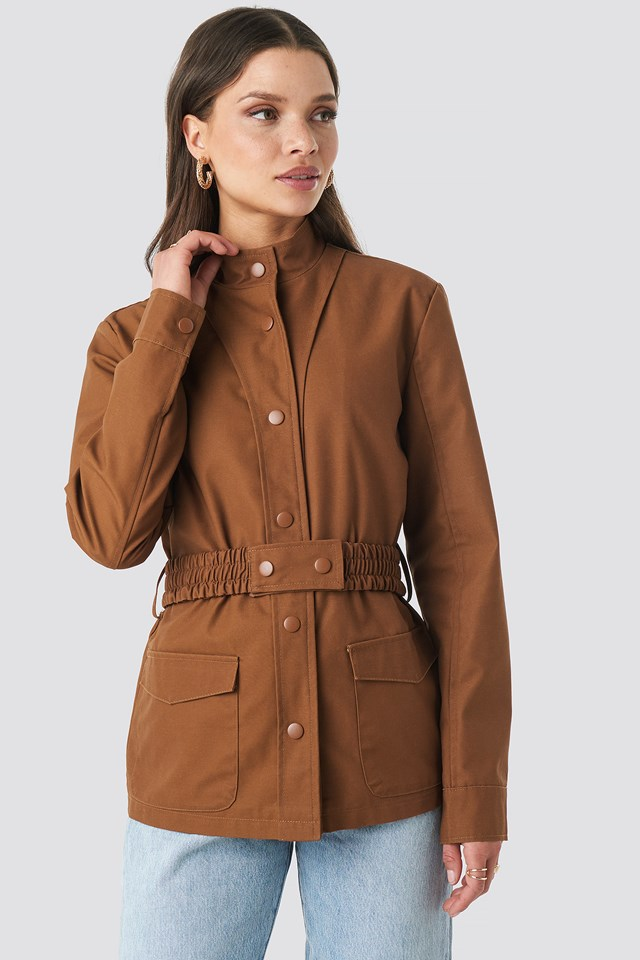 Coated Belted Jacket Brown