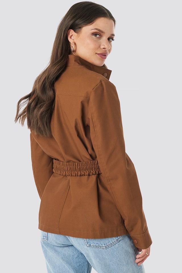 Coated Belted Jacket Brown