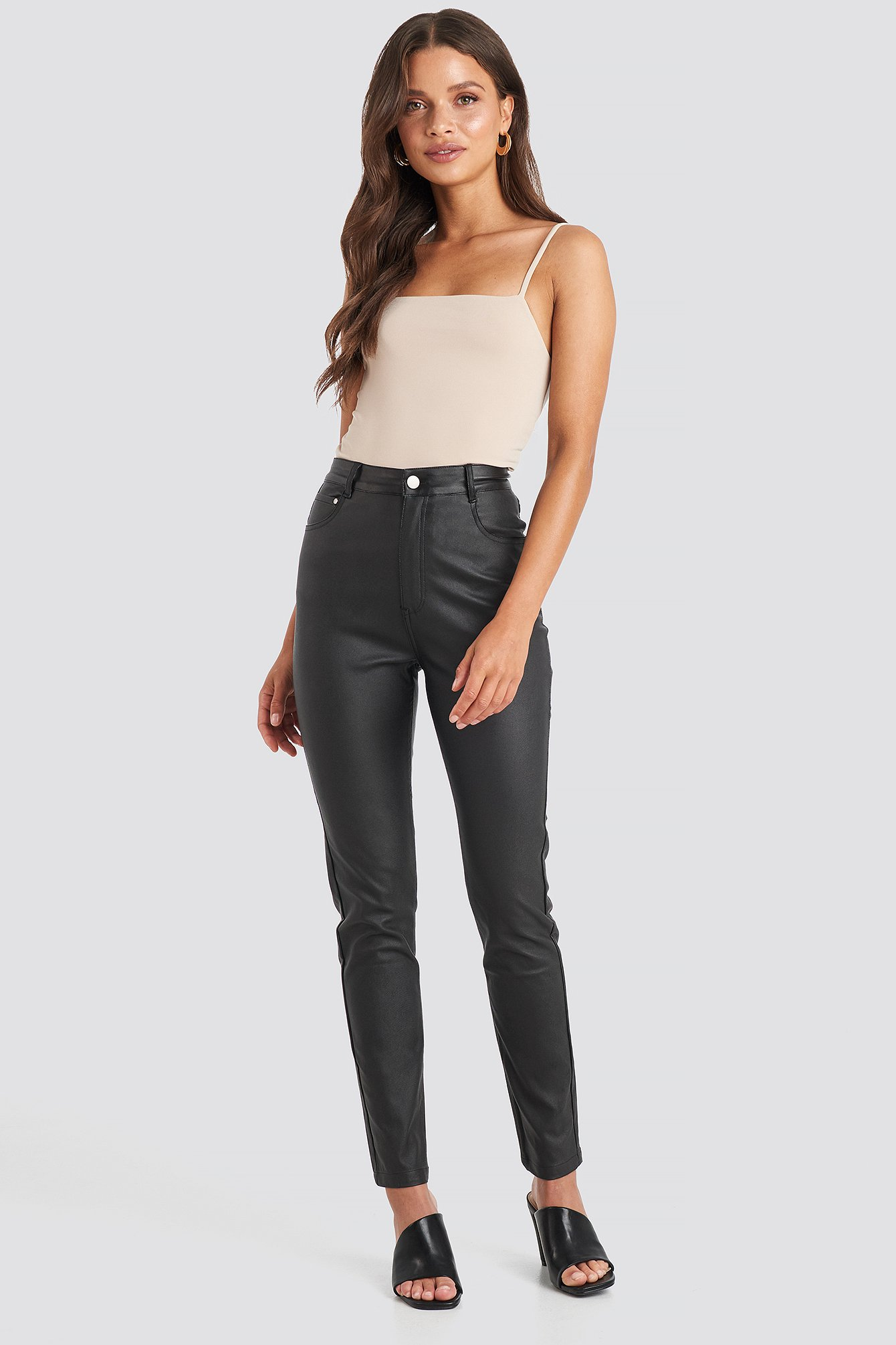 Coated Cotton Pants Black by Na Kd Trend