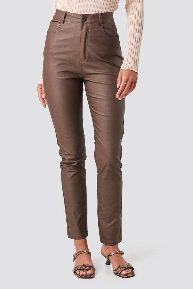 Coated Cotton Pants Brown
