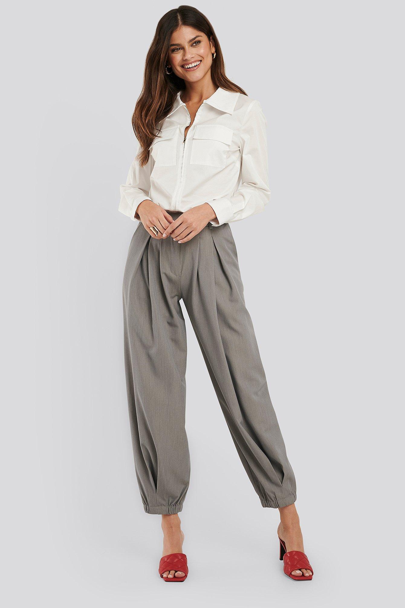 na-kd classic -  Cocoon Elastic Suit Pants - Grey