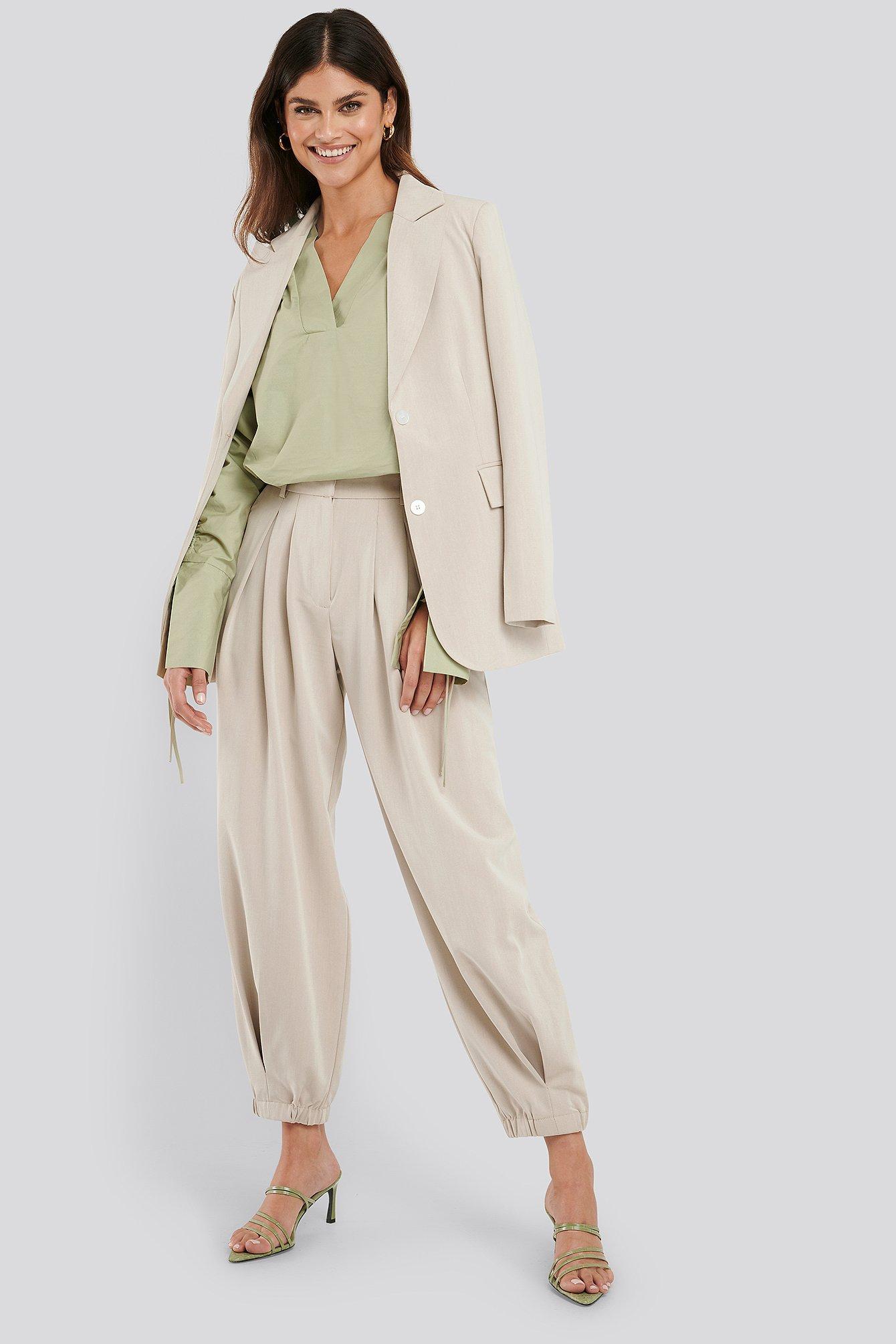 na-kd classic -  Cocoon Elastic Suit Pants - Beige