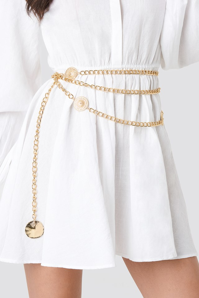 Coin Detailed Chain Belt Gold