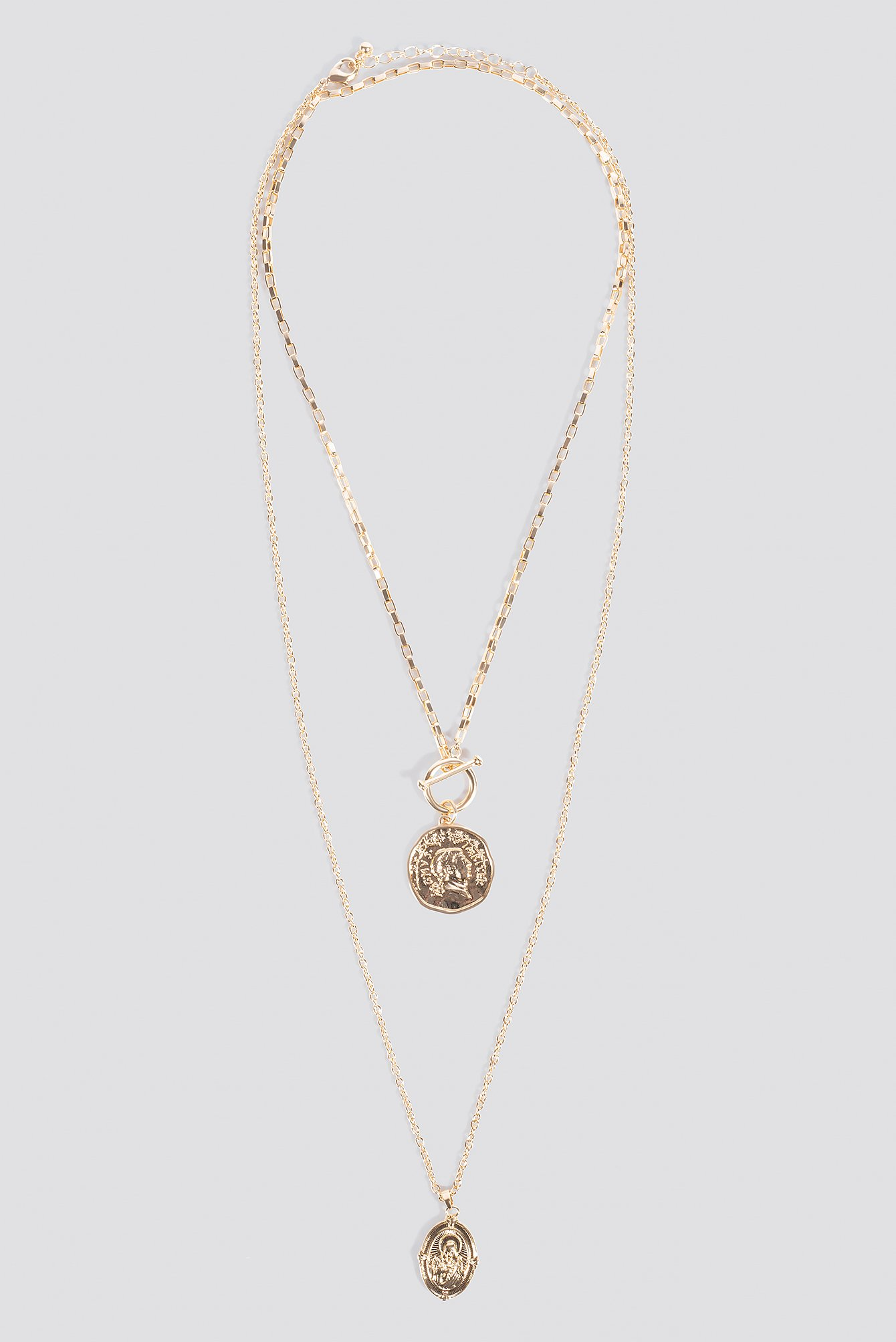 Coin Pendant T-Bar Doubel Necklace NA-KD.COM