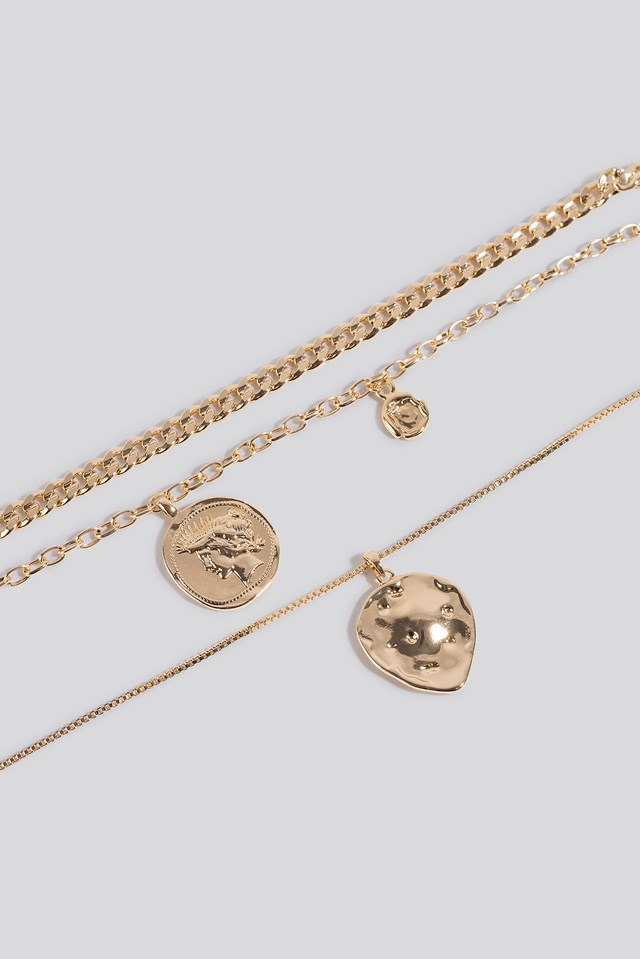 Coin Pendant Double Chain Necklace Gold