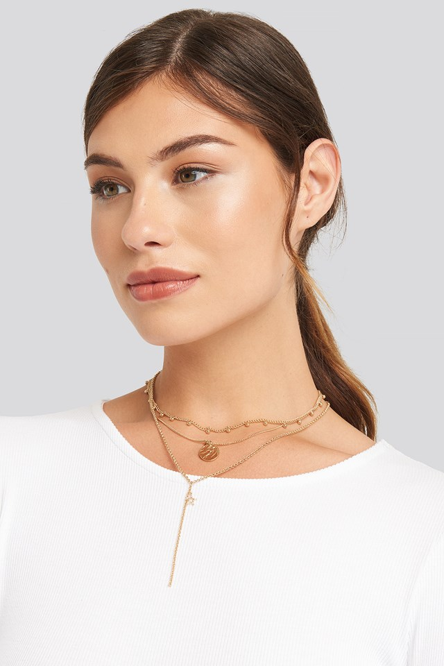 Coin Pendant Drop Chain Necklace NA-KD Accessories