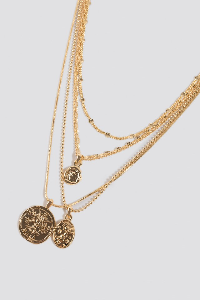 Coin Pendant Layered Necklace Gold