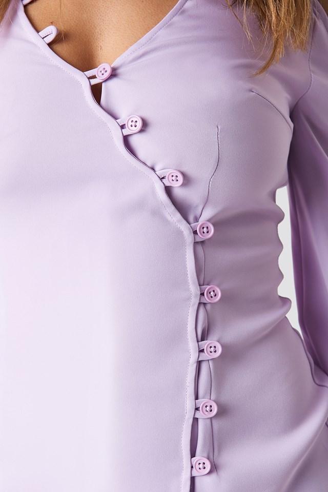 Cold Shoulder Button Detail Mini Dress Lilac