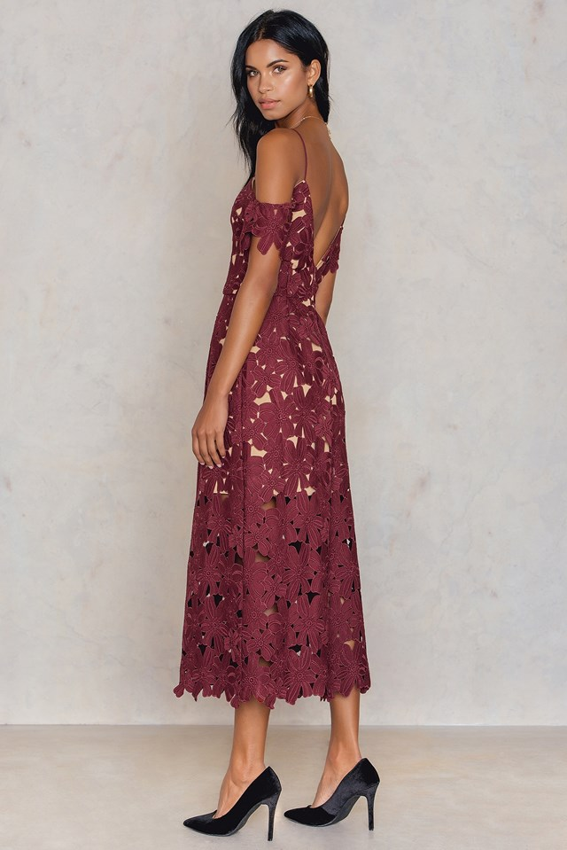 Cold Shoulder Crochet Midi Dress Wine Red