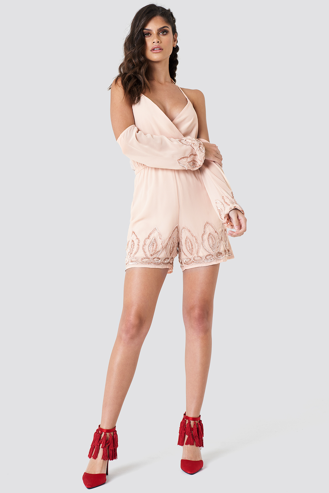 Cold Shoulder Embellished Playsuit NA-KD.COM