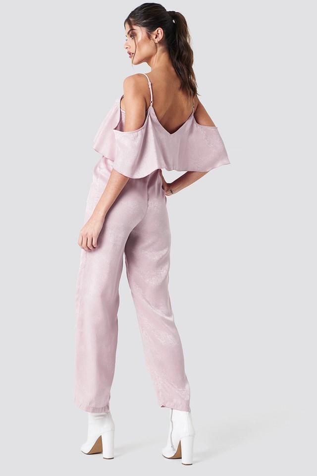 Cold Shoulder Flounce Jumpsuit Light Dusty Pink