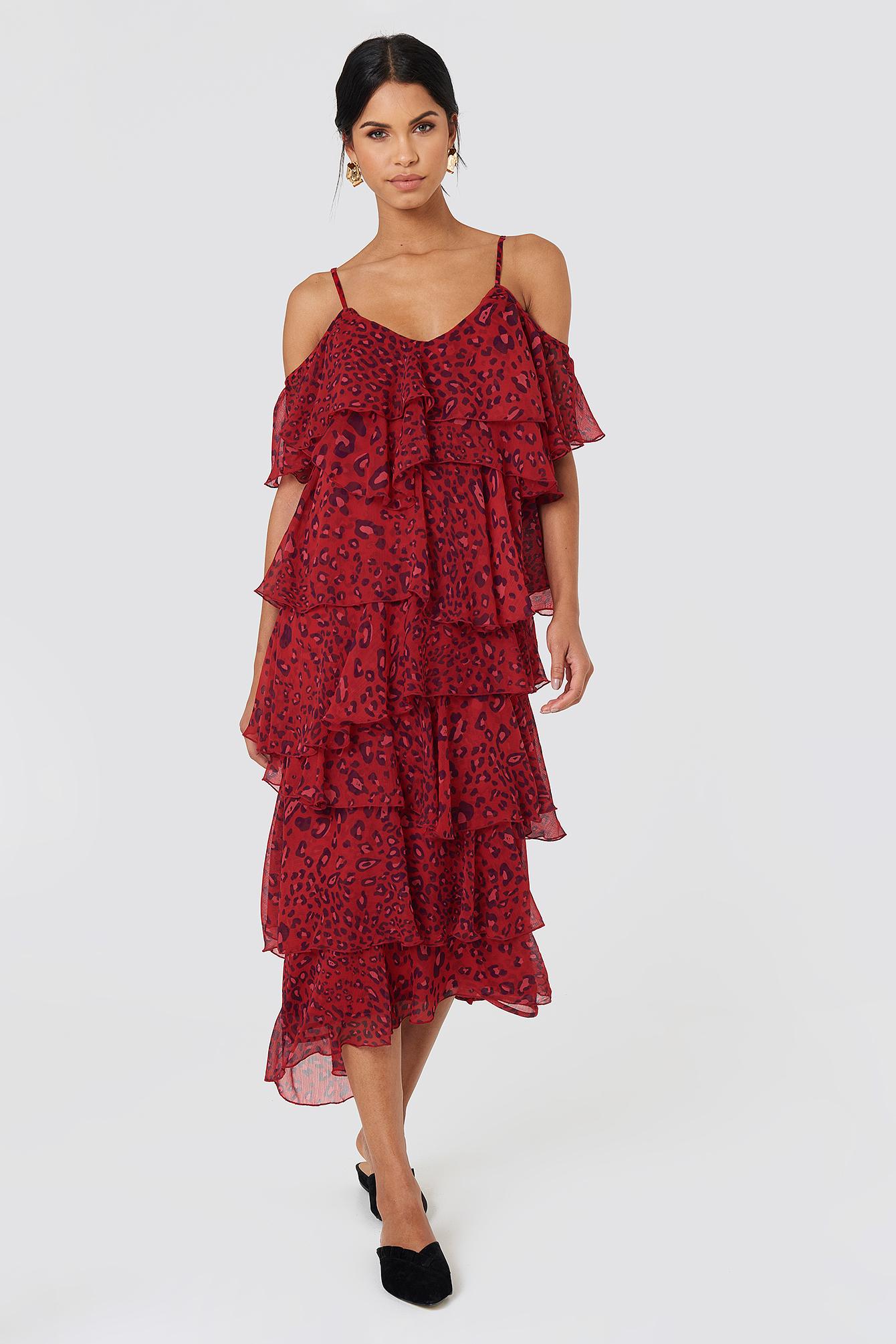 Sukienka midi z wycięciami na ramionach NA-KD.COM