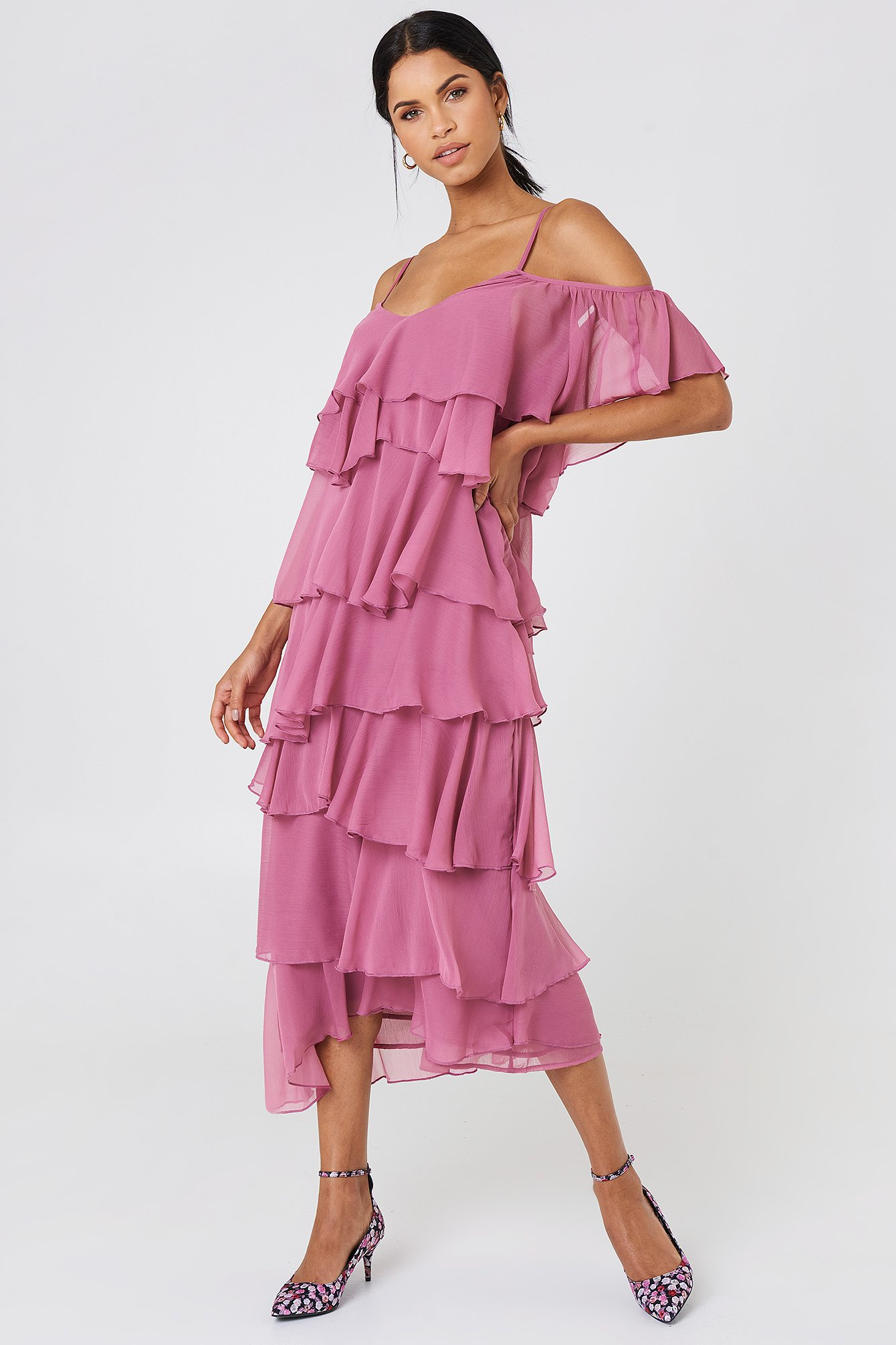Cold Shoulder Flounce Midi Dress NA-KD.COM