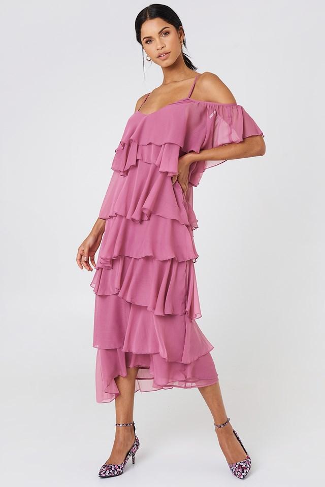 Cold Shoulder Flounce Midi Dress Purple Rose
