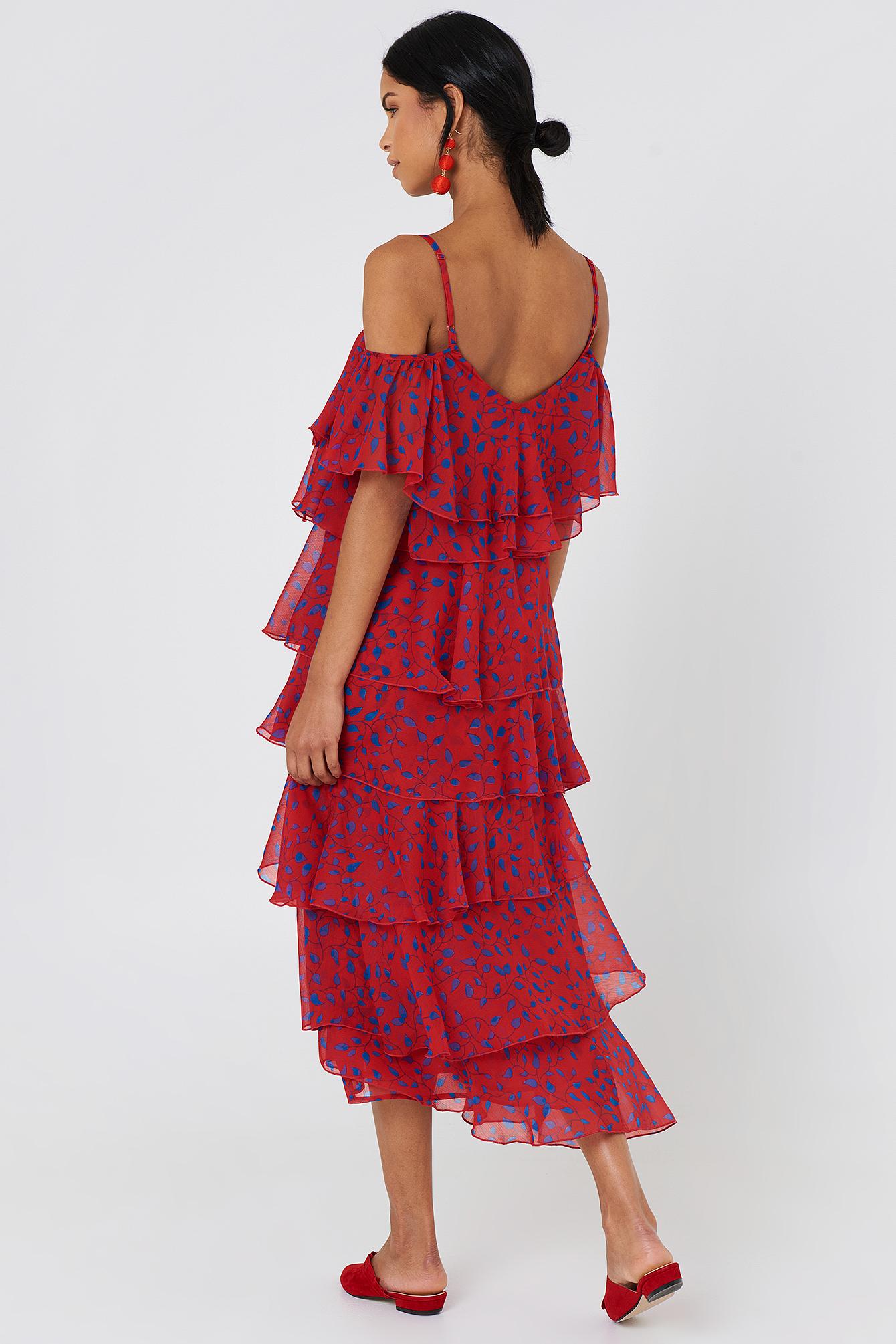 Cold Shoulder Flounce Midi Dress NA-KD.COM