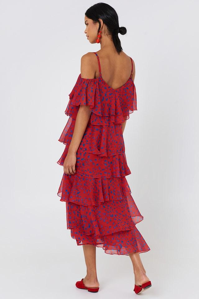 Cold Shoulder Flounce Midi Dress Red/Blue Leaves