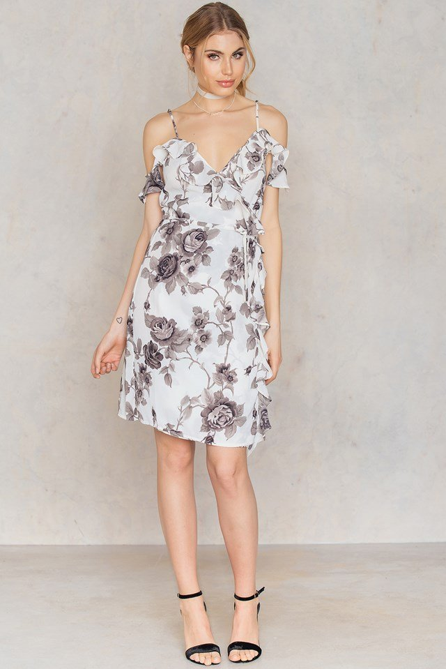 Cold Shoulder Flower Printed Overlap Dress White Print