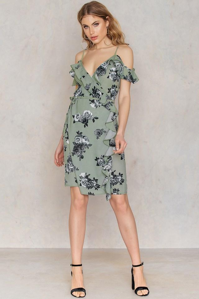 Cold Shoulder Flower Printed Overlap Dress Green Print
