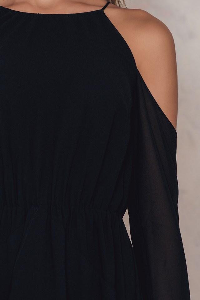 Cold Shoulder Frill Dress Black