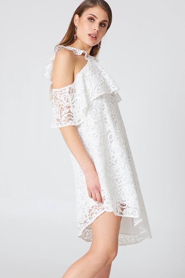 Cold Shoulder Frill Lace Dress White