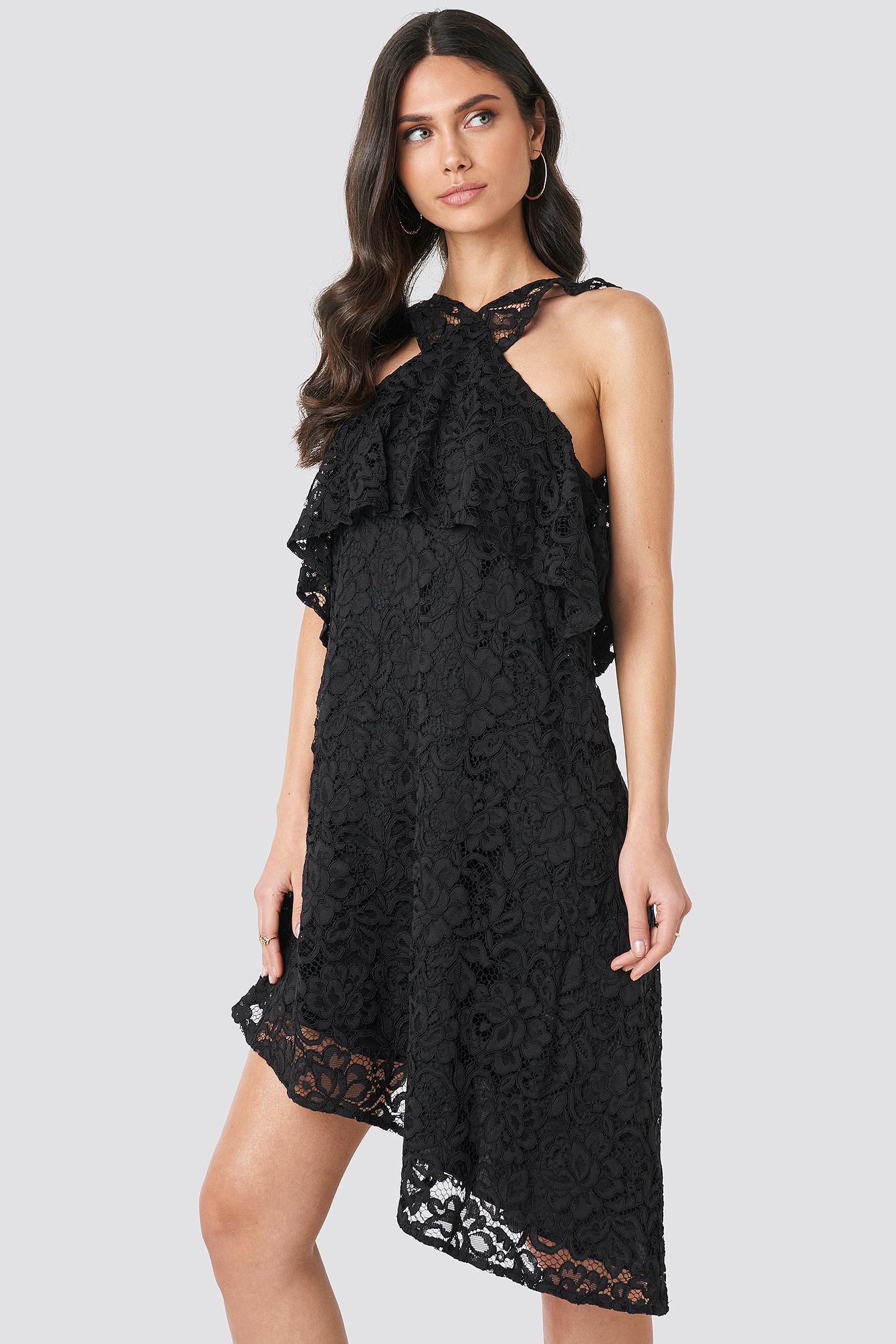 Cold Shoulder Frill Lace Dress NA-KD.COM