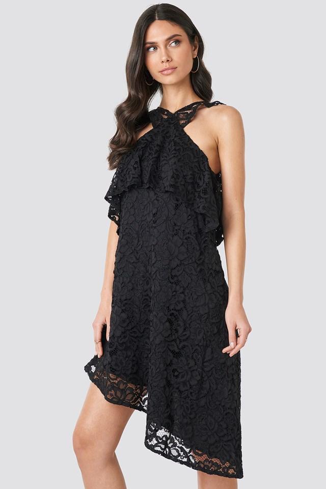Cold Shoulder Frill Lace Dress Black