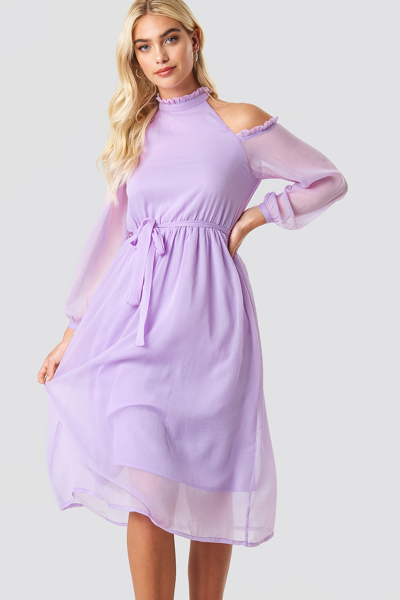 Cold Shoulder High Neck Midi Dress NA-KD.COM