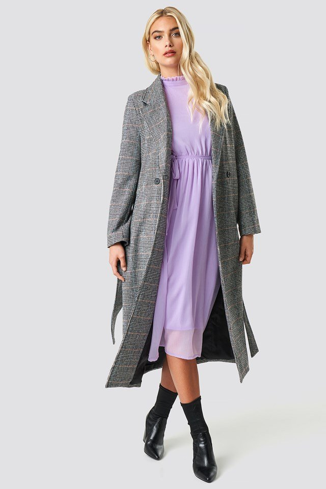 Cold Shoulder High Neck Midi Dress Lilac