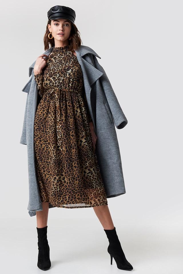 Cold Shoulder High Neck Midi Dress Leoprint