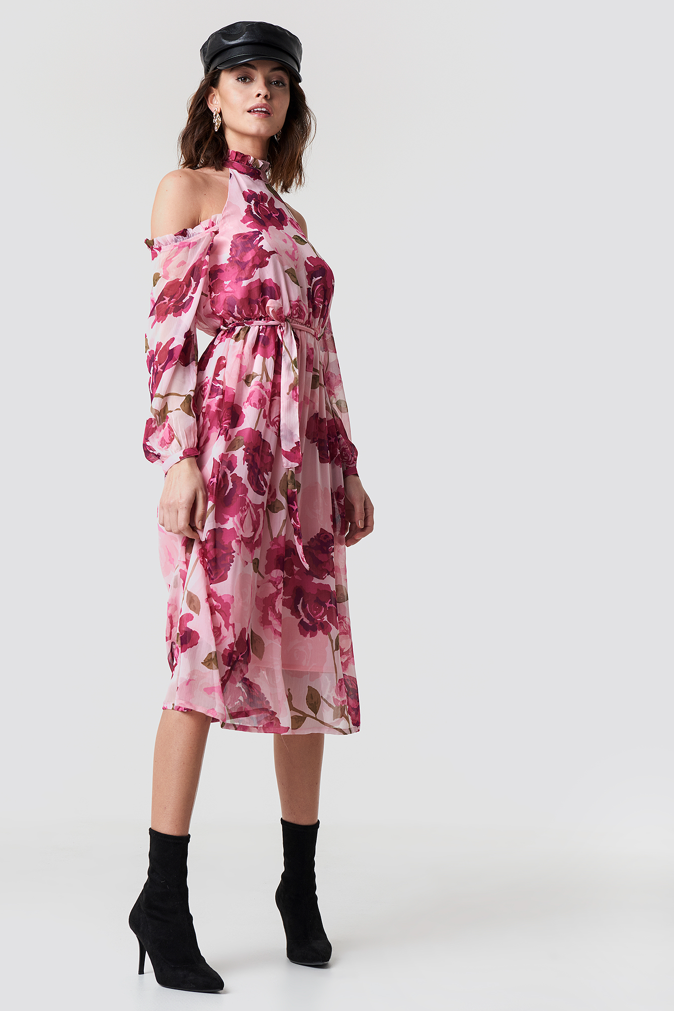 Cold Shoulder High Neck Midi Dress NA-KD.COM
