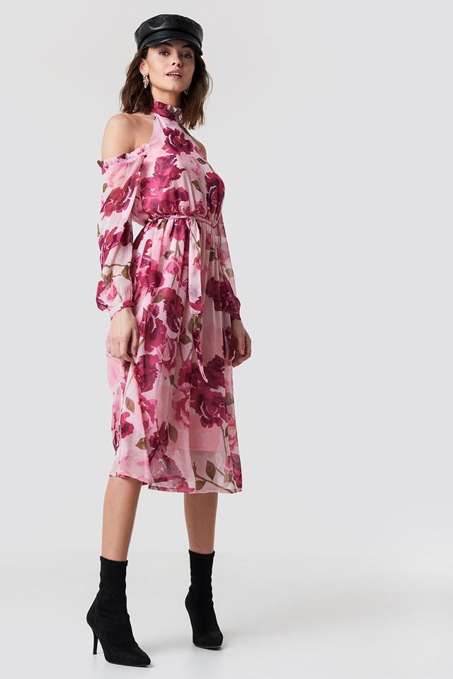 Cold Shoulder High Neck Midi Dress Light Pink Pastel Rose