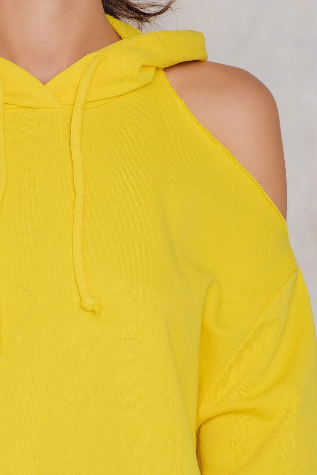 Cold Shoulder Hoodie Yellow