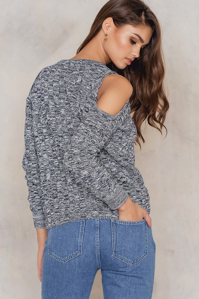 Cold Shoulder Knitted Sweater Blue