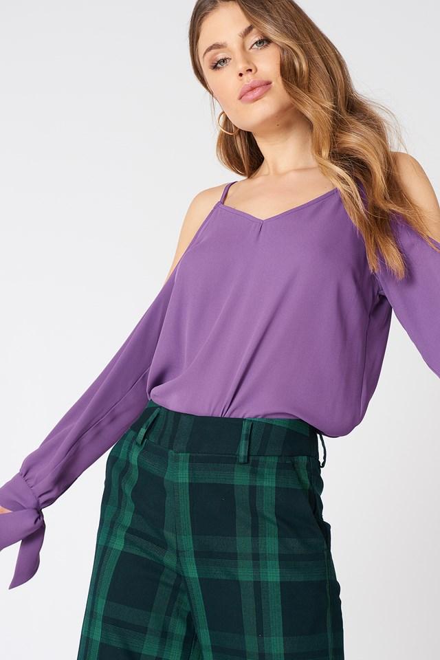 Cold Shoulder Knot Sleeve Top Purple
