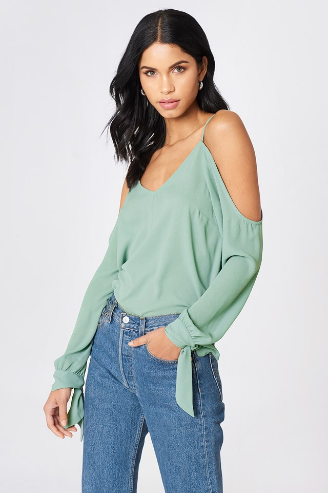 Cold Shoulder Knot Sleeve Top Duck Green