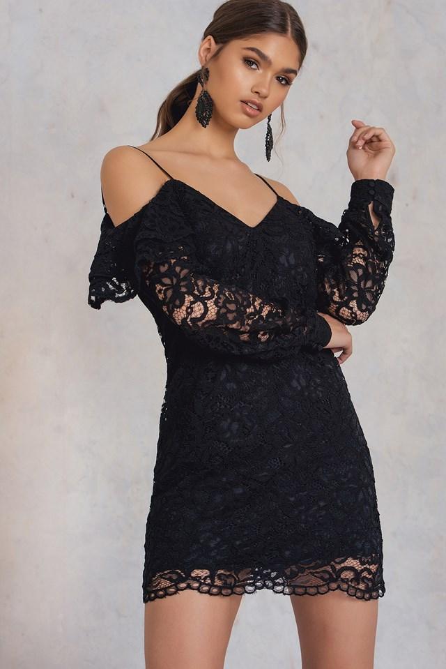 Cold Shoulder Lace Dress Black