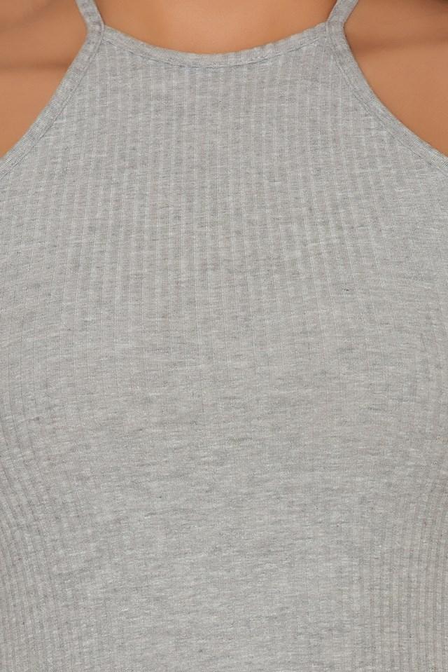 Cold Shoulders Rib Jersey Top Grey Melange